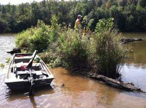 Rob Tharpe on Island in Monroe Reservoir